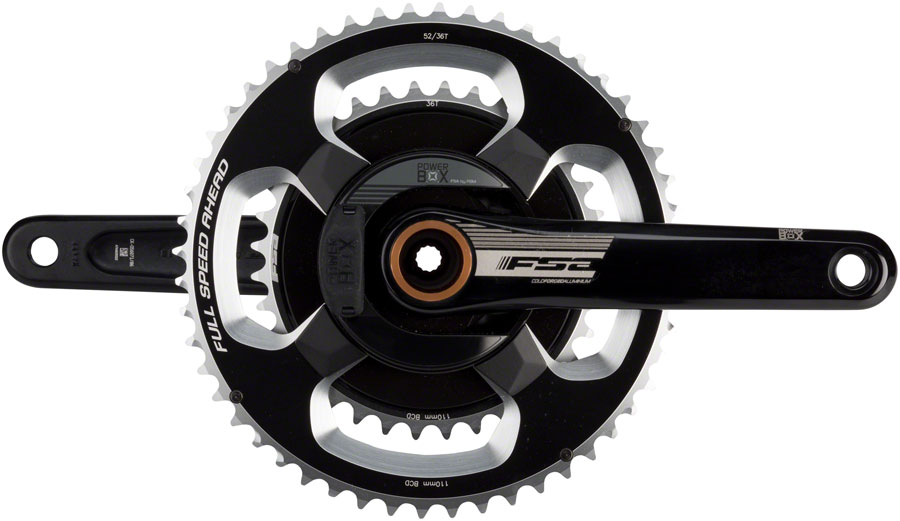 FSA (Full Speed Ahead) PowerBox Alloy Power Meter Crankset - 172.5mm, 11-Speed, 52/36t, 110 FSA ABS BCD, 392 EVO Spindle Interface, Black