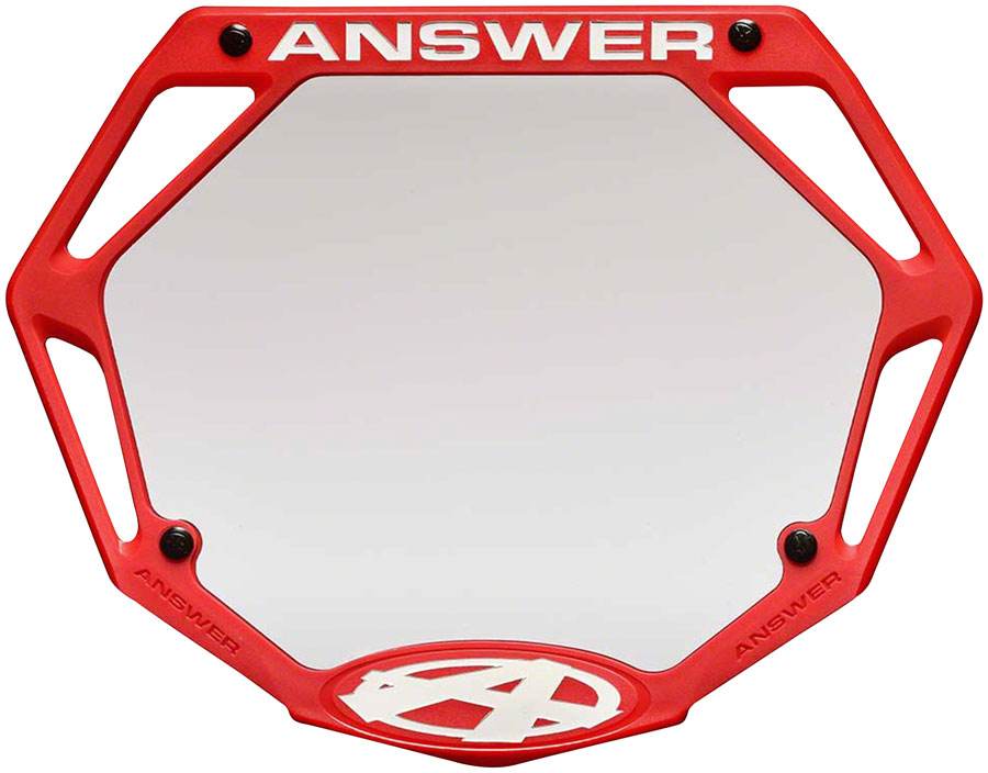 Answer BMX 3D Pro Number Plate - Red
