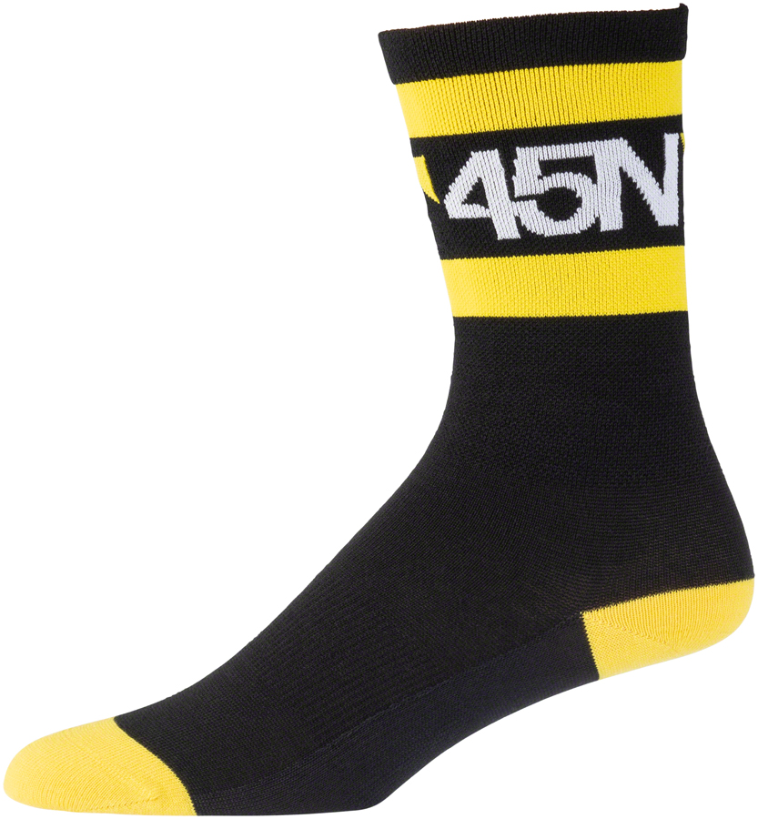 "45N Lightweight SuperSport Sock - 7"", Black/Citron, Small"