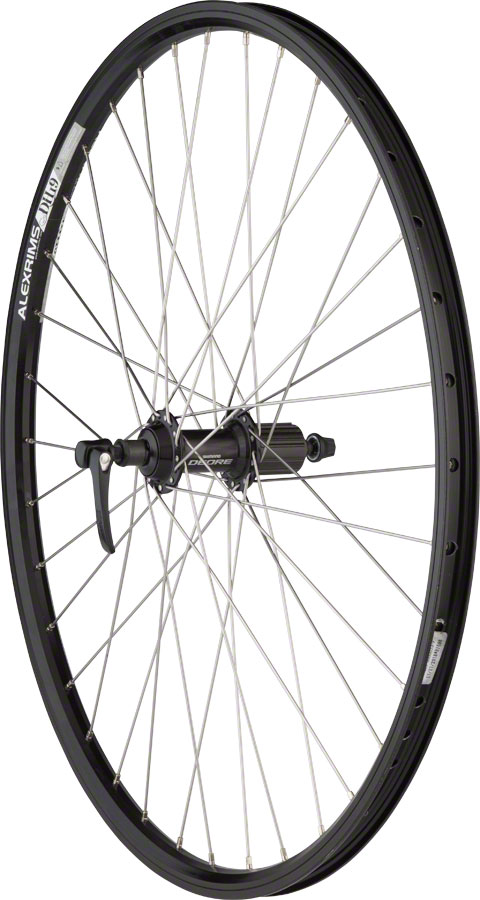 "Quality Wheels Rear Wheel Mountain Rim 26"" 135mm 36h Alex DH19 Black / Shimano Deore Black / DT Stainless Steel Silver"